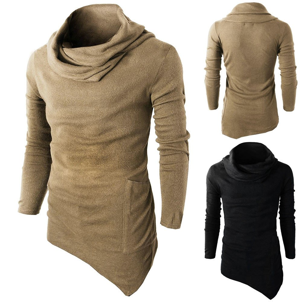 Mens Soft Cotton Rib Stitch Knit Slim Tuetleneck Long Sleeve Muscle Blouse Tops Simayixx Pullover Sweater for Men