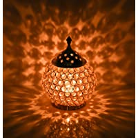 Collectible India Akhand Diya Decorative Brass Crystal Oil Lamp Tea Light Holder Lantern Oval Shape | Puja Lamp