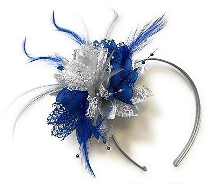 Caprilite Royal Blue and Silver Fascinator on Silver Grey Headband ... e0cfb3db8b8