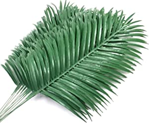 12 Pack Artificial Palm Tree Leaves Tropical Plants Faux Fake Palm Frond Plant Artificial Plants Greenery