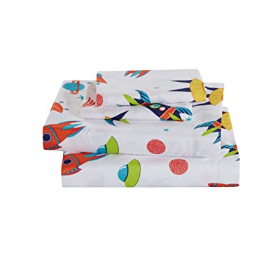 Sheet Set for Boys Solar System Space Rocket Ship Stars White Orange Yellow Green Blue New (Full): Home & Kitchen