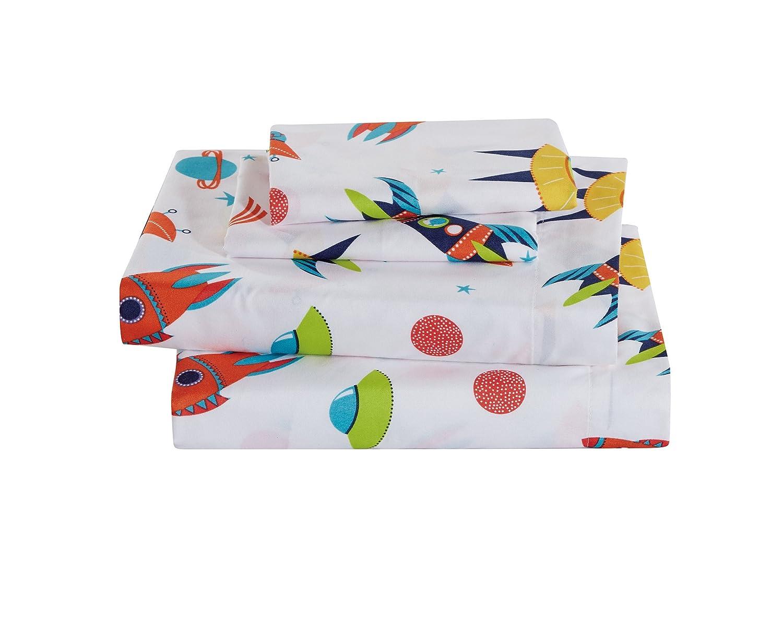 Full Size 7pc Comforter Set for Boys Solar System Space Rocket Ship Stars White Orange Yellow Green Blue New Linen Plus