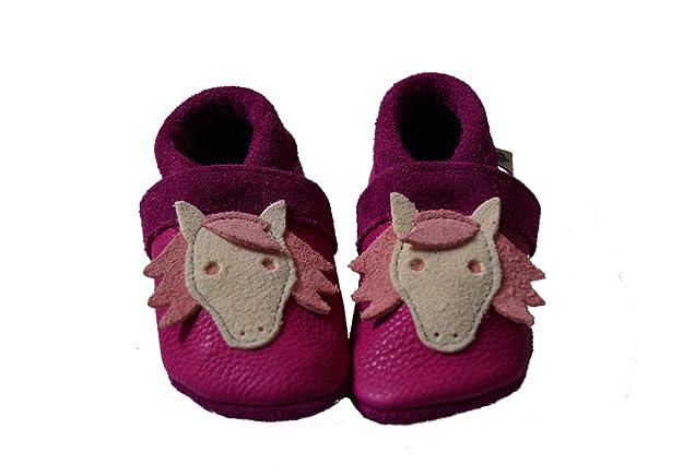 Pantolinos Pferdestarker Kinderschuh / Krabbelschuh / Lauflernschuh in violett/pink mit Pferdestickerei 20 1QZ9IFciiD