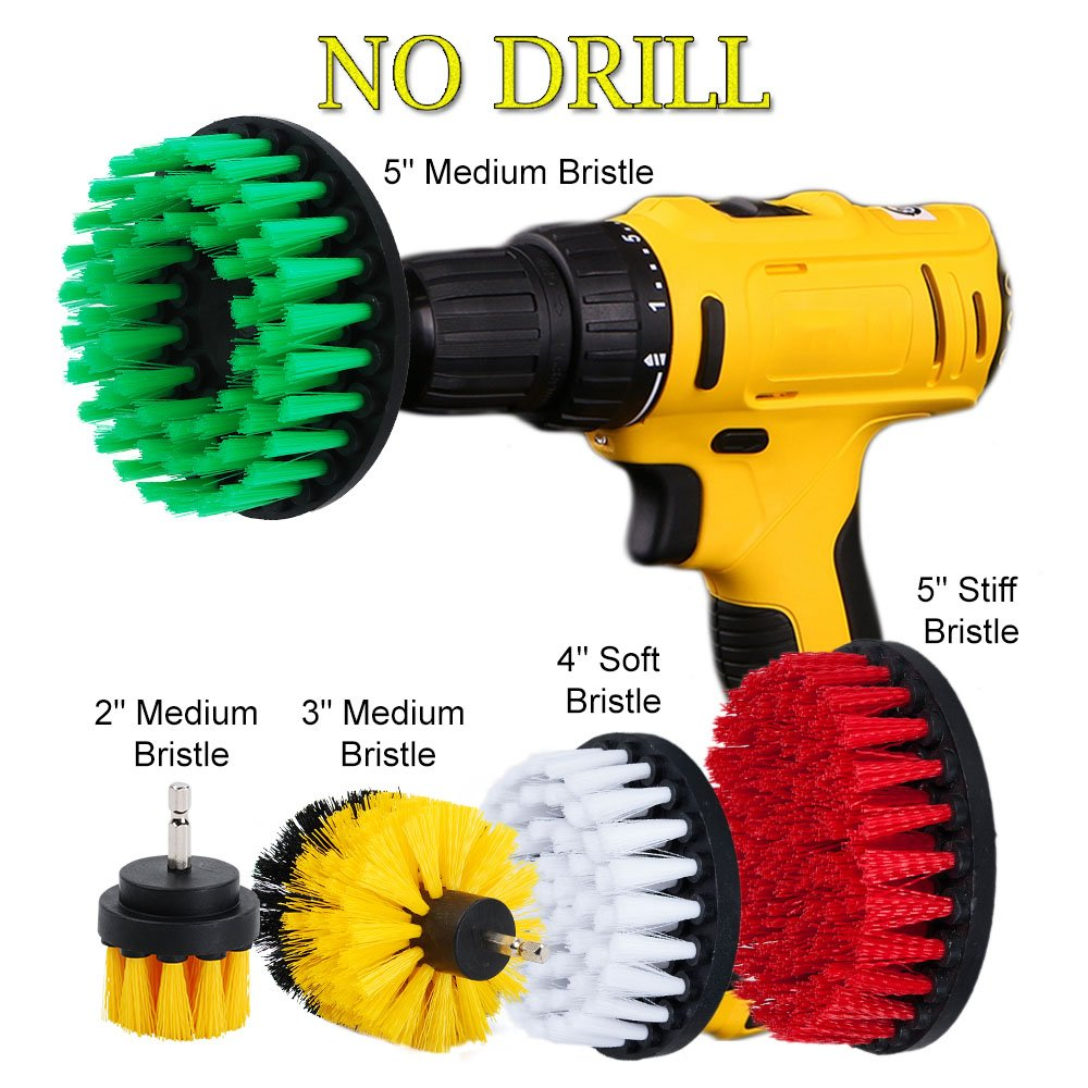 HIFROM Drill Brush - 2' 3' 4' Power Drill Attachment Medium Stiffness Bristles Scrubbing Scrubber Cleaning Kit for Bathroom Surfaces Tile Grout Showers Mineral Marble and More