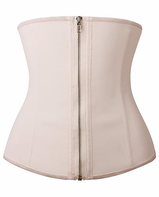 277e50894e YIANNA Women s Zipper Hook Hourglass Latex Waist Training Corset Body Shaper  ...