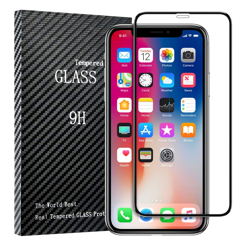iPhone 11 Pro Screen Protector,iPhone X Xs Screen Protector,[Solid Series]FLOVEME Premium HD Clear Protection Anti Scratch Tempered Glass Screen Protector Compatible with most iPhone Xs,X, 11 Pro Case
