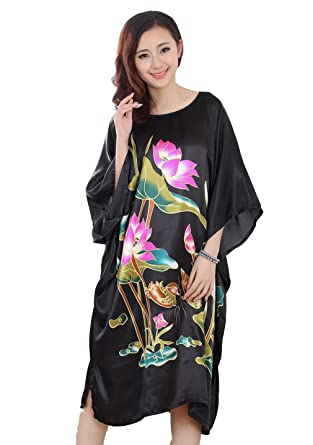JTC Chinese Silk Ladies Lingerie Robe Dressing Gown Nightwear Womens  Clothing Sleepwear Nightdress 4Colors (Black)  Amazon.co.uk  Clothing c97e0d833