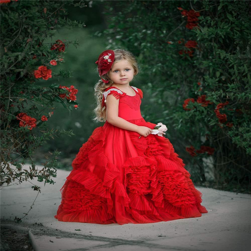 8-9T Asdflina Enfants Qi Strass Fleur Pettijupe Fille Robe De Scène Robe De Mariée Fille De Fleur VêteHommests de Danse pour Occasions spéciales (Taille   4-5T)