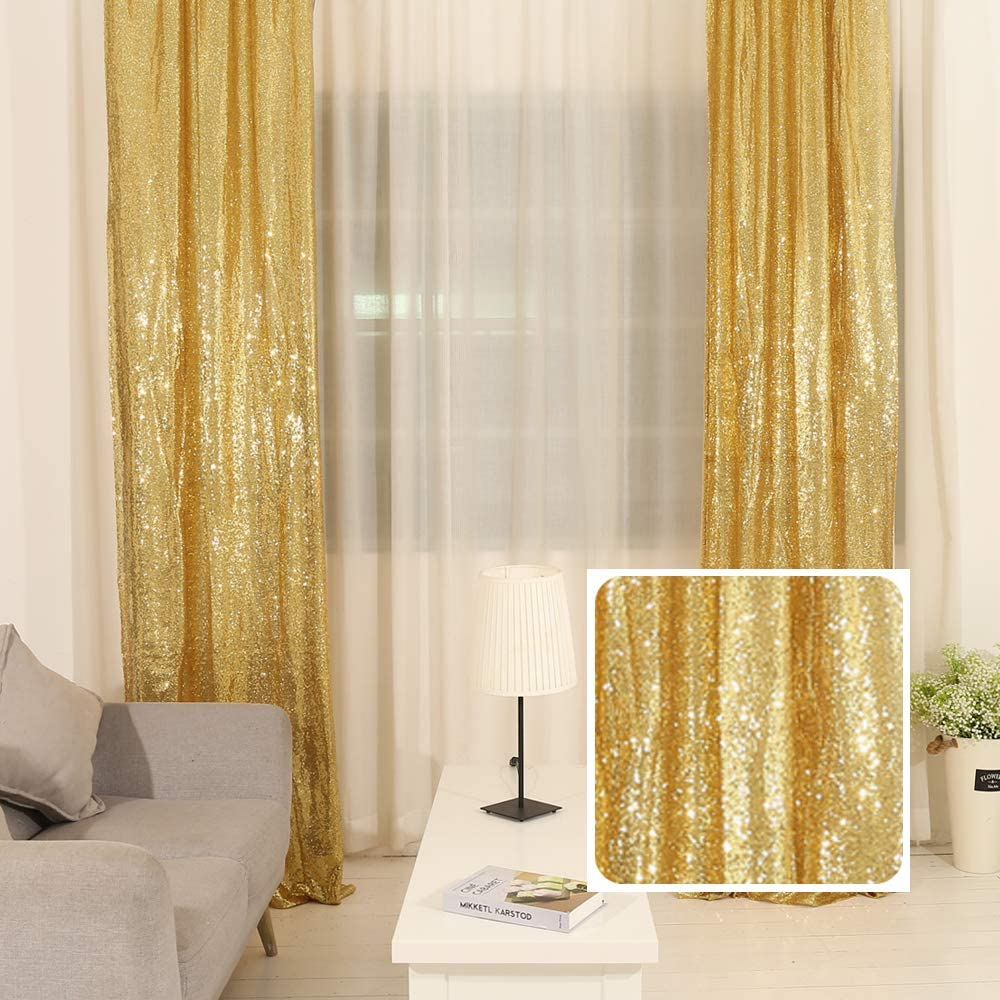 TRLYC Warm Gold 8FT by 8FT Sequin Fabric Photography Backdrop Sequin Curtain for Halloween Wedding//Party Christmas Day