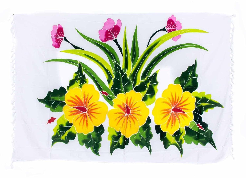 Premium Sarong Pareo Wickelrock Strandtuch Lunghi Dhoti Schlicht Blickdicht Blume Hibiskus Weiß Handbemalt