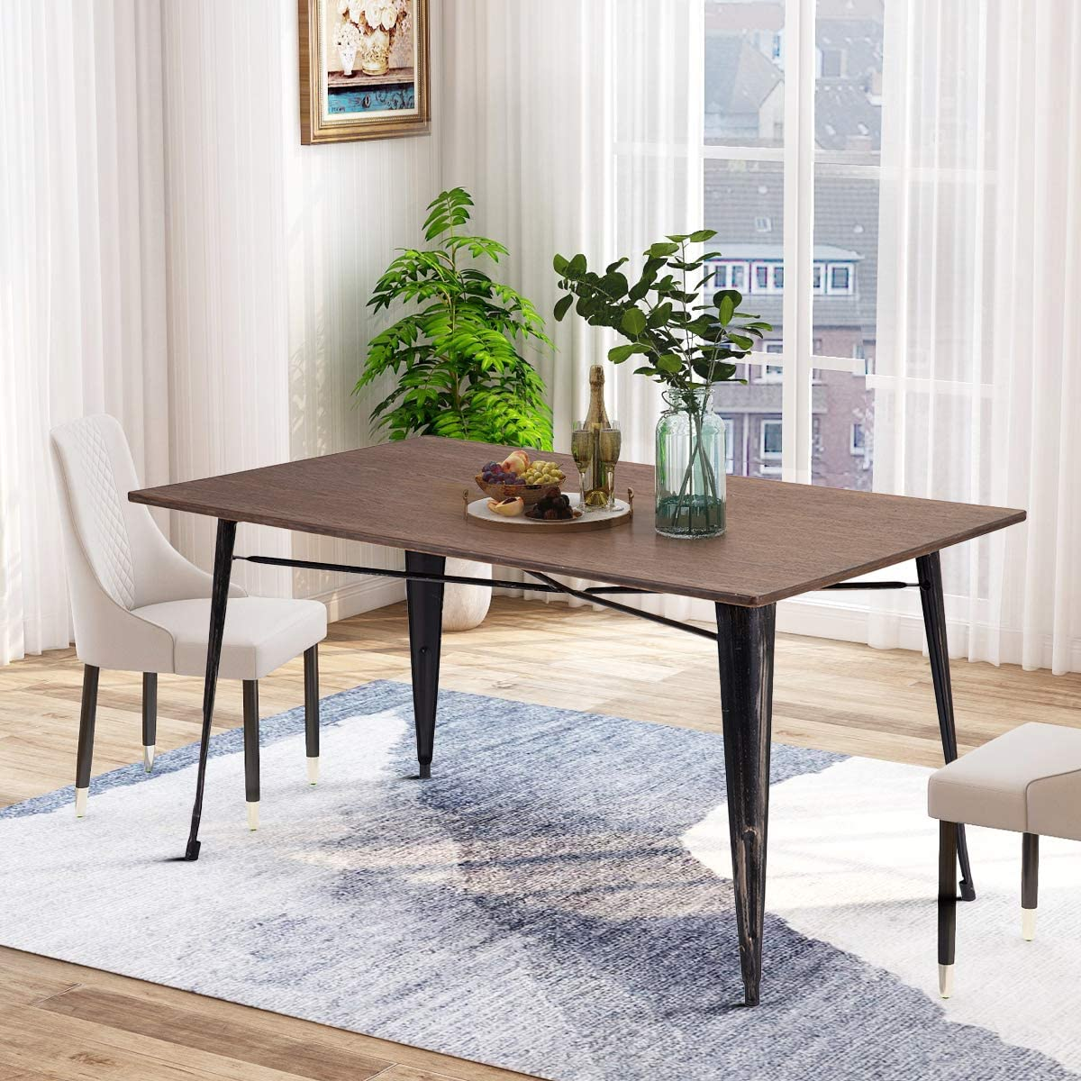 Binrrio Dining Table Set Industrial Wooden Kitchen Table Dining Table with A Bench, Wooden Desk Metal Frame Home Kitchen Dining Room Furniture, Brown