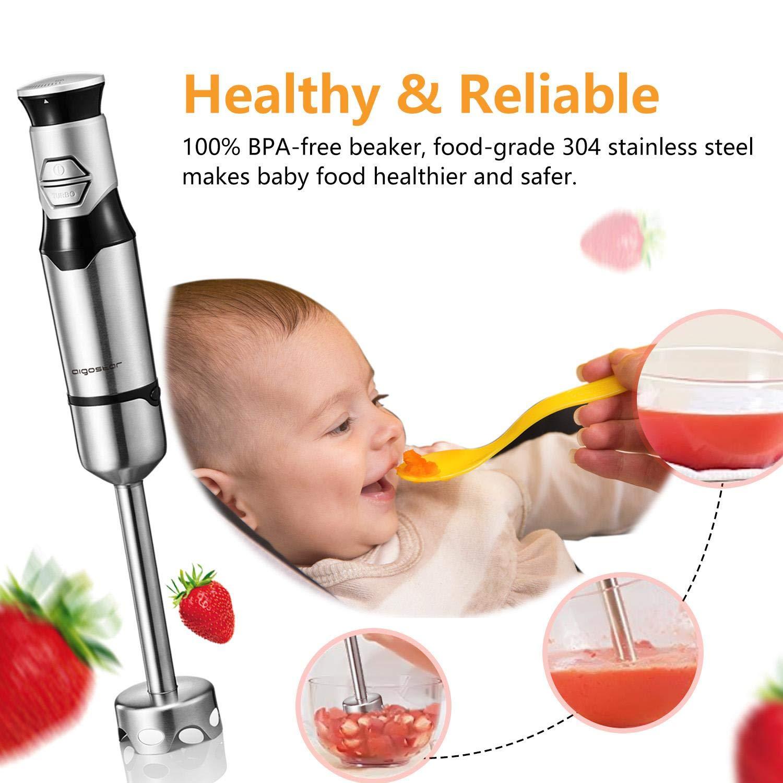 EINWEGVERPACKUNG. Aigostar Stirring Silver Stabmixer mit Becher,Edelstahl P/ürierstab,600 Watt Hand Blender Mixer,Multifunktion f/ür Smoothies und Babynahrung