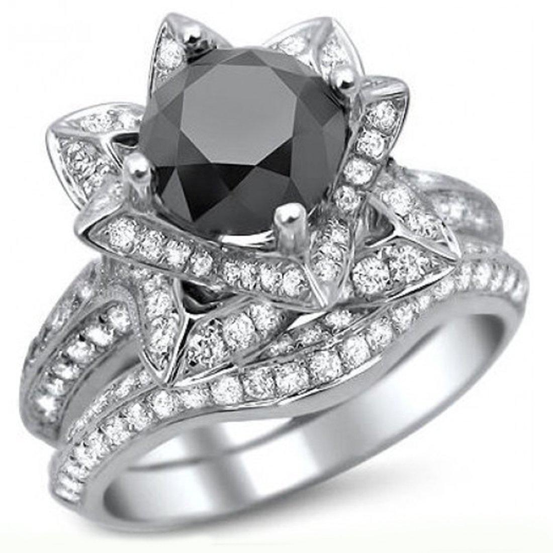 Smjewels 3.55 Ct Black Round Sim.Diamond Lotus Flower Engagement Ring Set In 14K White Gold Fn