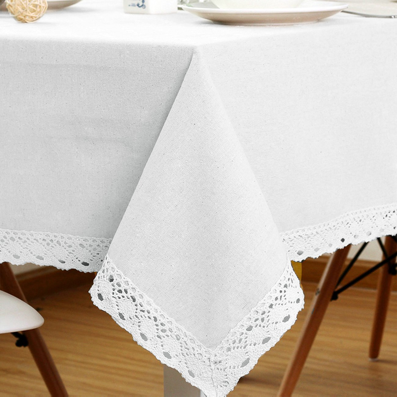 LINENLUX Cotton Linen Tablecloth Macrame Rectangle Table Covers for Dinner Parties Holidays Coffee-RE 55 x 63 in