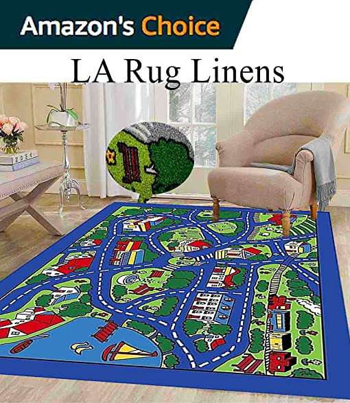 8x10 Kids Boys Children Toddler Playroom Rug Nursery Room Rug Bedroom Rug  Fun Colorful ( Blue