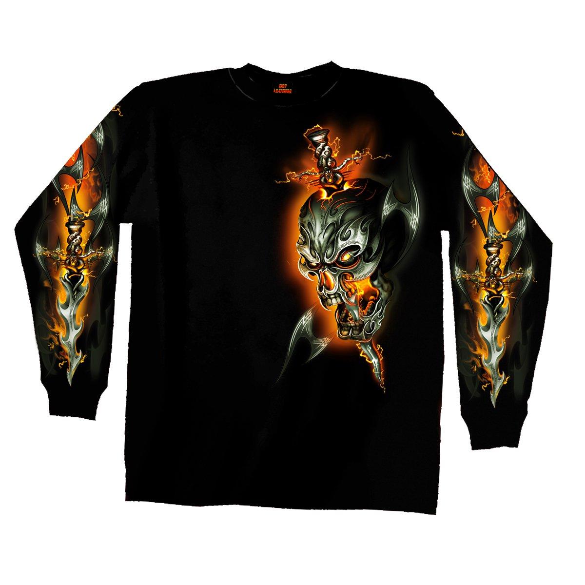 Black t shirt skull - Amazon Com Hot Leathers Electric Skull Long Sleeve T Shirt Black Medium Automotive