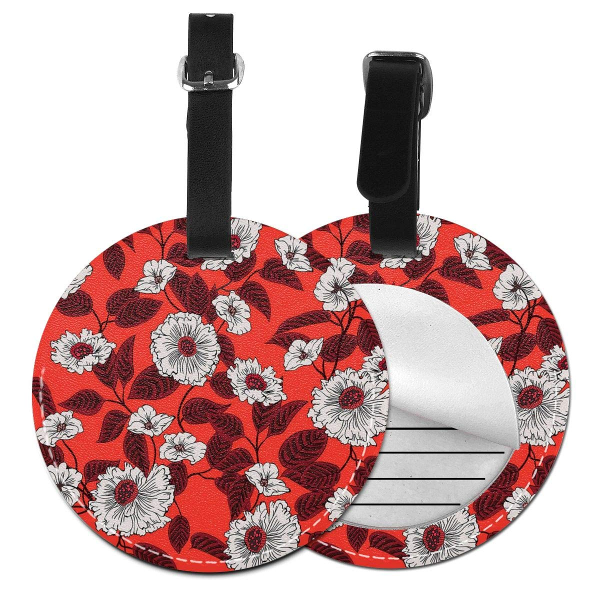 RITGOWWV PU Leather Luggage Tags 3D Print Floral Pattern Flowers and Leaves Suitcase Labels Bag Travel Accessories