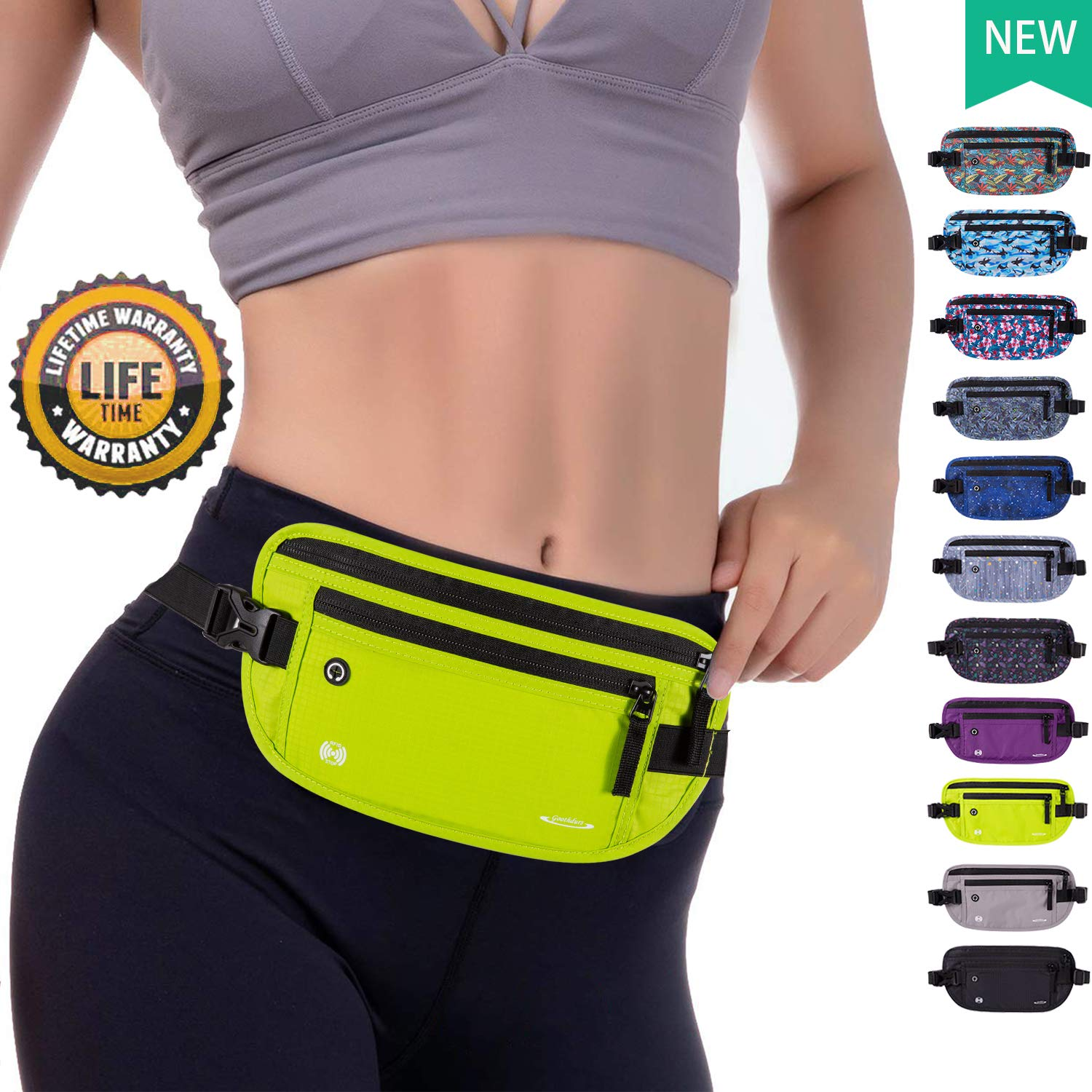 Goothdurs Running Money Belt Travel Fanny Pack RFID Blocking Slim Waist Bag for Women and Men 2019 New Model