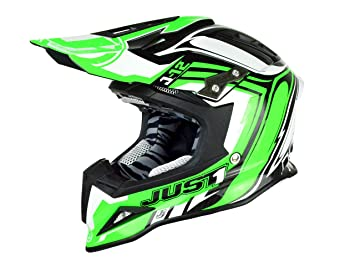 Just 1 Helmets J12 Casco de Motocross, Verde/Blanco, ...
