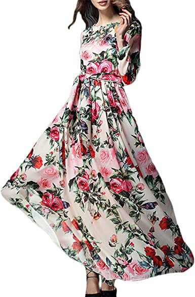 Abiti Primaverili Eleganti.Vestiti Donna Eleganti Stampati Floreale Abiti Da Cerimonia Lunghi