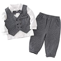 famuka Baby Boy Tuxedo Suit Set Gentleman Outfit Toddler Dressy Clothes