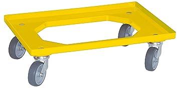 4 Lenkrollen Transportroller f/ür Eurobeh/älter 400 x 300 mm grau graue Gummir/äder