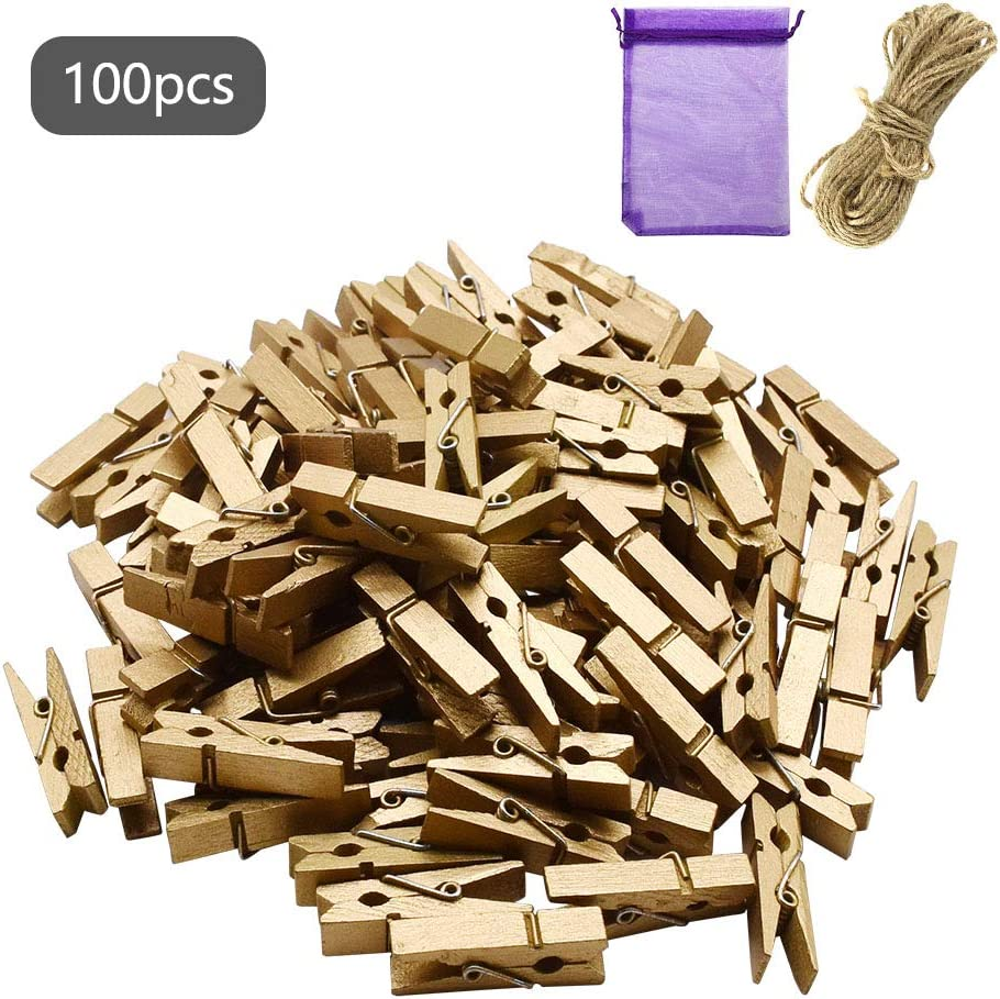 2m of Jute String Craft Wedding Hanging Photo Clips Wooden 36 x Mini Wood Pegs