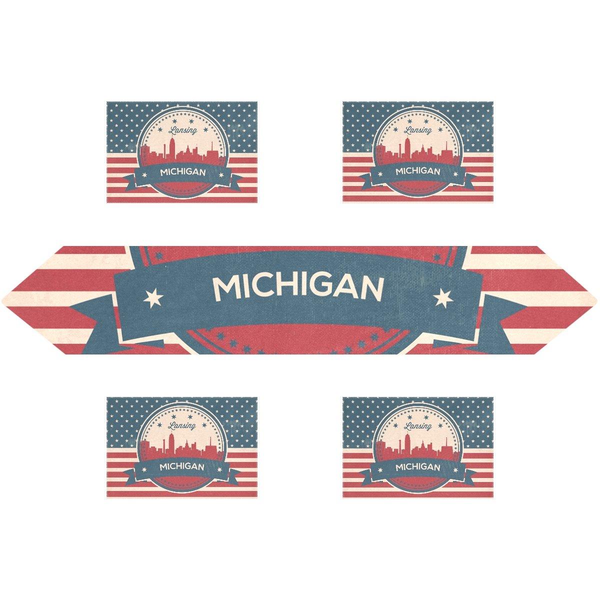 ヴィンテージAmerican Flag Michigan State Lansing Skyline長方形テーブルランナー13 x 70インチwithプレースマットテーブルマット12 x 18インチの4のセット、結婚式、パーティー、ディナー、夏&ピクニックの国アウトドアホーム 13x90(in) & 12x18x4(in) ホワイト g1378330p172c202s296 13x90(in) & 12x18x4(in)  B076C559F1