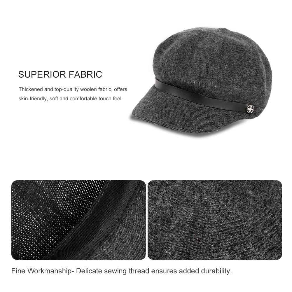 Vbiger Women Woolen Fedora Newboys Hat Visor Beret (Dark Grey) by VBIGER (Image #3)