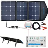 ACOPOWER 12V 105W Portable Solar Panel Kit; Foldable Solar Charger Suitcase For RV, Boat (Solar Panel Kit w 10A Charge Controller)