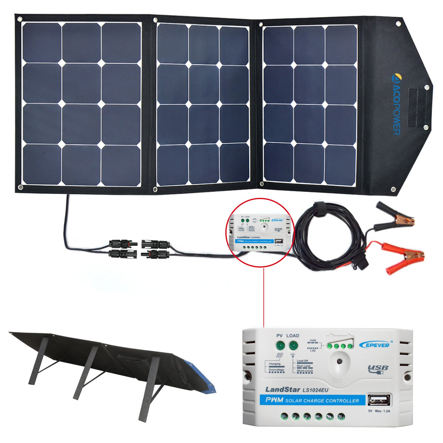 ACOPOWER 12V 105W Foldable Solar Panel Kit; Portable Solar Charger Suitcase of Monocrystalline Module & 10A Charge Controller For RV, Boat