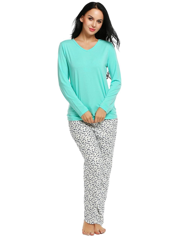 37e498460c Ekouaer Sleepwear Set Women s 2 Pcs Long Comfy Pajamas Cotton Sleep  Nightwear low-cost