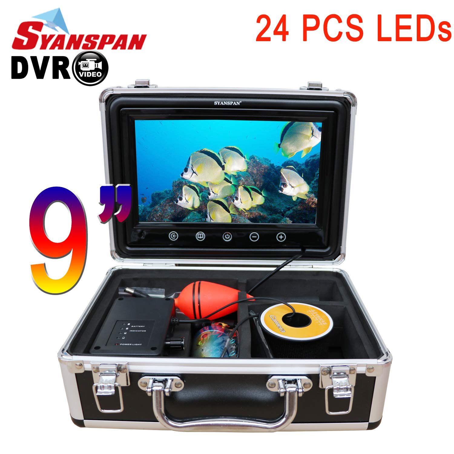 SYANSPAN Fish Finder Underwater Fishing Video Camera Portable 9'' IP68 HD Camera Kit,24 Adjustable LED Night Version,Touchscreen with Remote Control for Ice/Lake Fishing