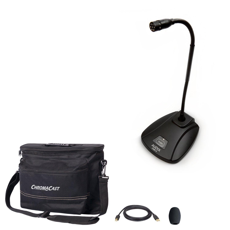 Audix USB12 Micrófono de condensador USB con bolsa de equipo ChromaCast Musician