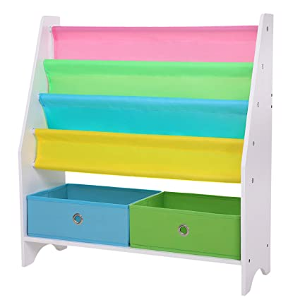 SONGMICS Childrens Book Shelves With Toy Storage Bins 4 Tier Fabric Bookcase Includes Anti