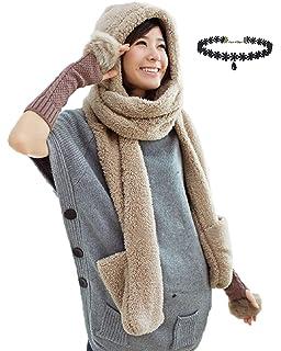 Con Capucha Bufanda Mujer Sombrero Niñas Invierno Forro Polar Gorro Bufanda  Guantes Todo… 848e4152f37