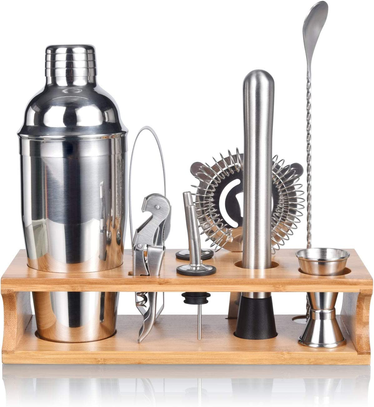 Esmula Bartender Kit with Stylish Bamboo Stand, 10 Piece Cocktail Shaker Set for Mixed Drink, Professional Stainless Steel Bar Tool Set - Cocktail Recipes Booklet(25 oz)