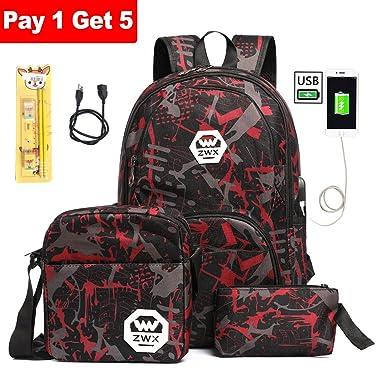 Best Deal! School Backpack for Boy Girl, Student Bookbag 25L Laptop bag w/ USB Charging Port 5 Sets