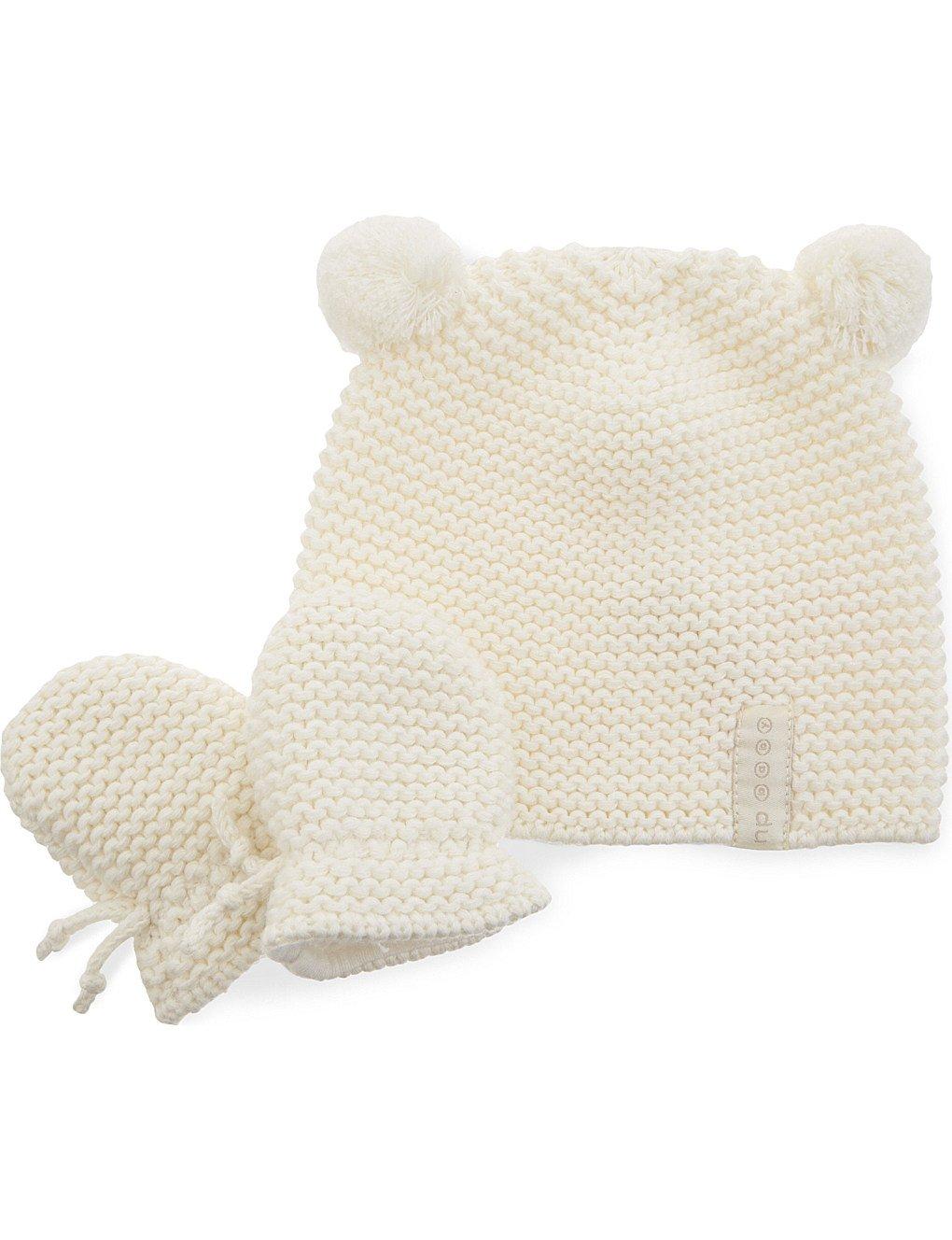 Natures Purest Pom Pom Organic Cotton Hat & Mittens Set 0-6 Months