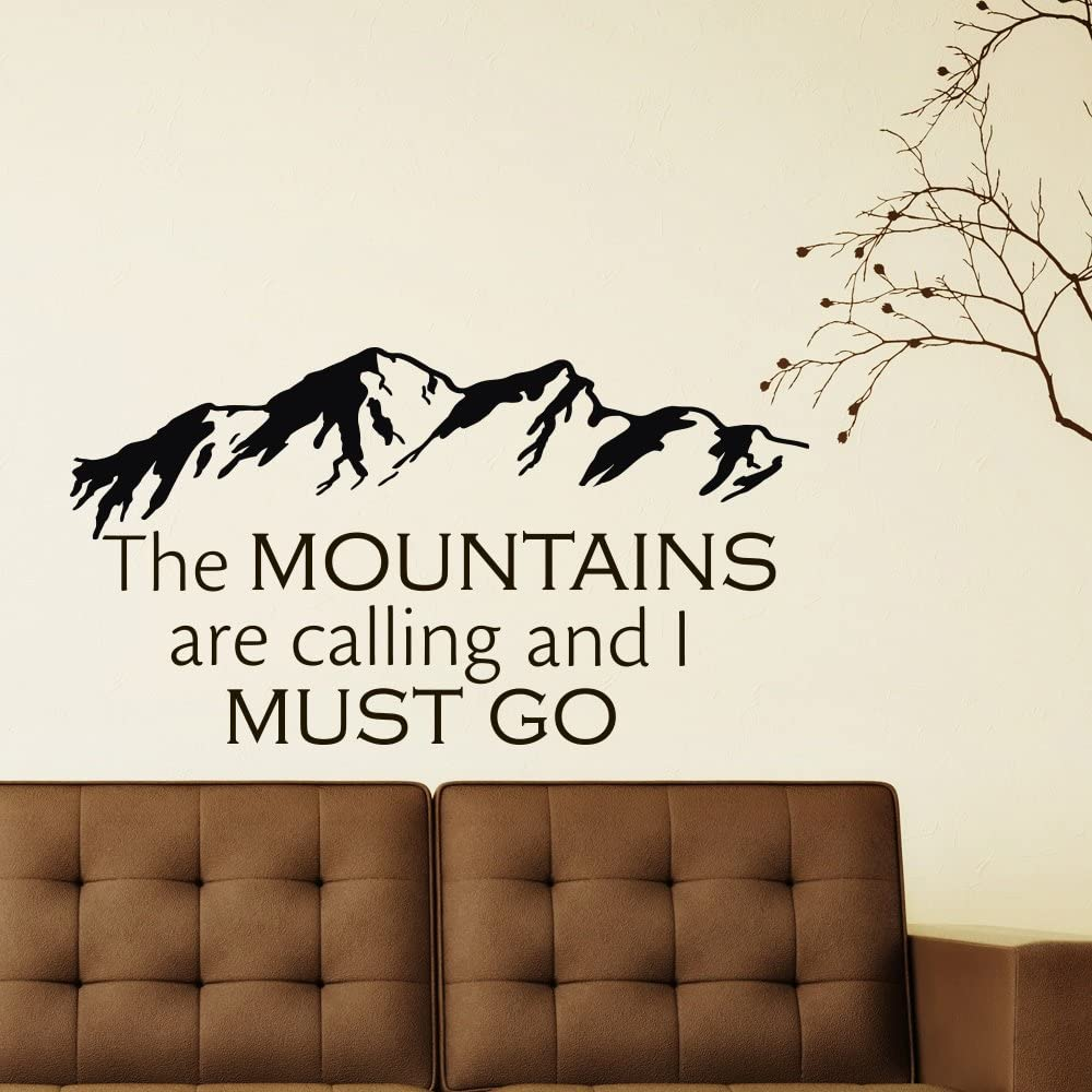 Wall Decals Quotes the Mountains Are Calling and I Must Go Rustic Wall Decor Inspirational Quote Bedroom Nursery Living Room Home Decor Q144