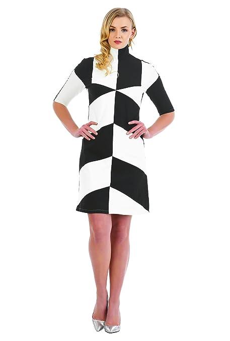 1960s Dresses: New 60s Style Dresses – Jackie O to Mod eShakti Womens Colorblock Turtleneck Cotton Knit Shift Dress $59.95 AT vintagedancer.com