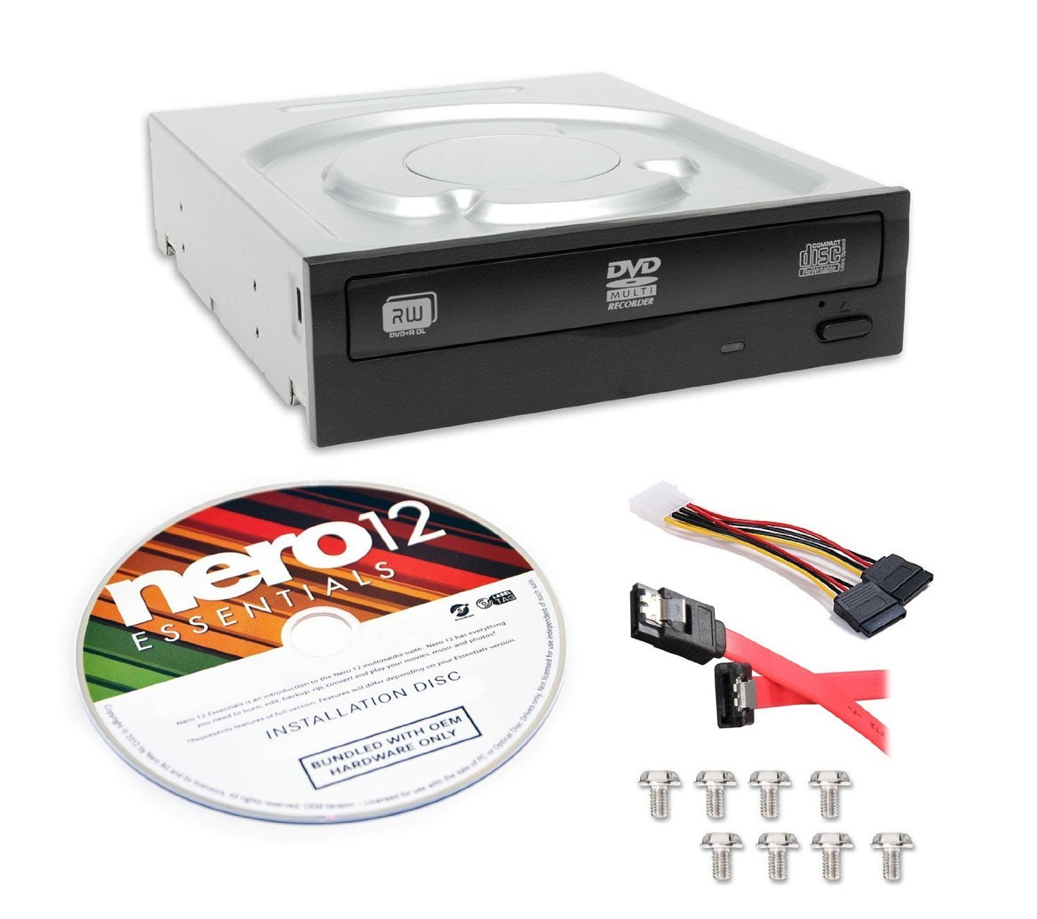 Lite-On Super AllWrite IHAS124-04-KIT 24X DVD+/-RW Dual Layer Burner + Nero 12 Essentials Burning Software + Sata Cable Kit