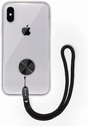 MOXYO - Zigi Band - Universal Cell Phone Lanyard and Wrist Strap, Works with All Smartphones and Tablets Including iPhone and Galaxy & Most Cases (Black Anodized w/Blk Lanyard)