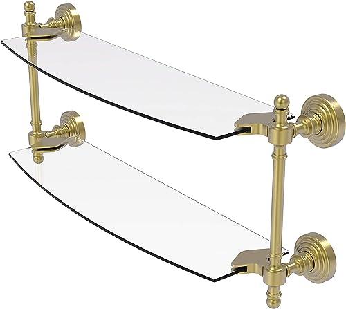 Allied Brass RW-34 18 Retro Wave Collection 18 Inch Two Tiered Glass Shelf, Satin Brass