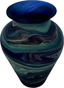 Oriental Arts Handmade Glass Flower Vase for Home Decor - Office and Kitchen Décor, Blue Vases for Flowers. Vases for Living Room (Blue, 7.9x5.3 Inches)