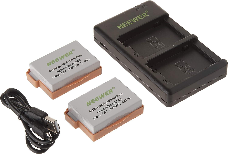 Neewer Reemplazo LP-E8 Batería Recargable de Carga Set para Canon (2-Pack 1140mAh Baterías de Cámara y Cargador de Doble Entrada USB Micro, 100% Compatible con Protección de Seguridad Original): Amazon.es: Electrónica