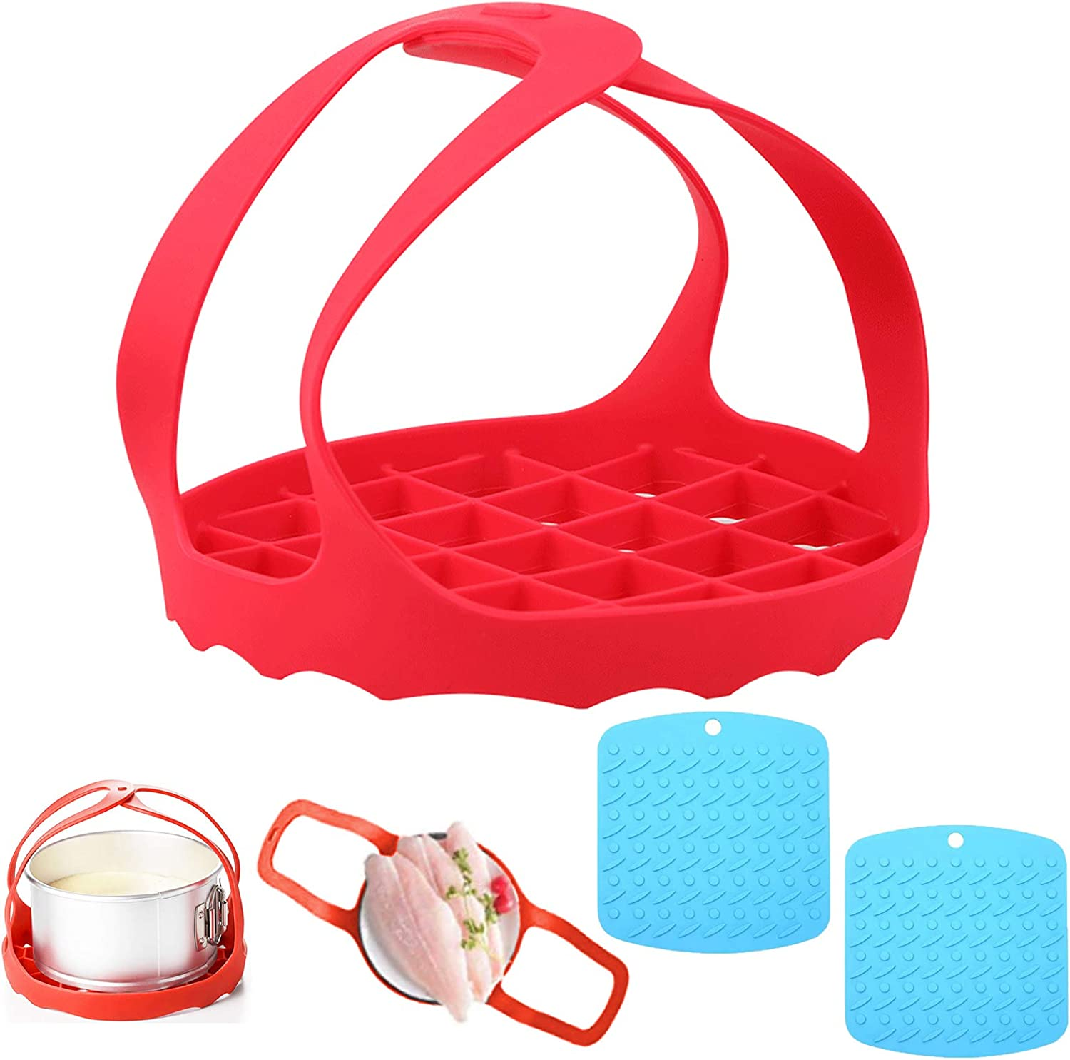 GUIZREN Silicone Sling Trivets Mats Accessories Compatible with Instant Pot 6 Qt / 8 Qt and Other Brand Pressure Cookers, Non-Slip Heat Resistant Lifter - 2 Silicone Hot Pads, Steamer Mats