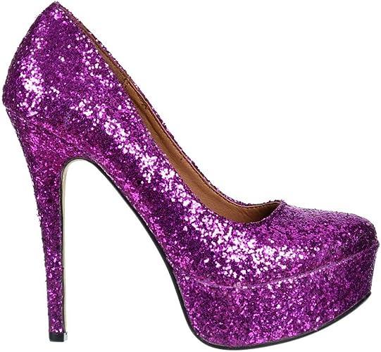 Onlineshoe Ladies Womens Sparkly Purple