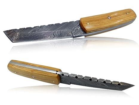 Cuchillo Artesanal 15 cm - Hoja Acero Damasco Empuñadura Madera Olivo Hecho a Mano Funda de Cuero Mod.10