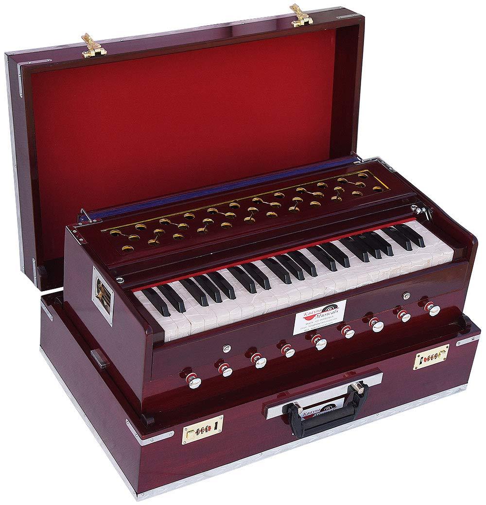 Harmonium Traveler/Portable/Folding Type By Kaayna Musicals, 9 Stops- 5 Main & 4 Drone, 3½ Octaves, Coupler, Dark Colour, Gig Bag, Bass-Male Reed - 440 Hz, Suitable for Yoga, Bhajan, Kirtan, Mantra by Kaayna Musicals (Image #2)